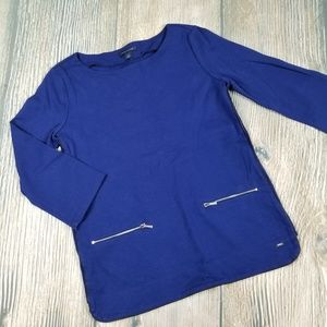 TOMMY HILFIGER blue imitation leather trim top